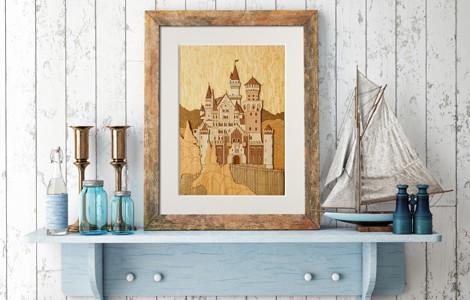 ノイシュヴァンシュタイン城の木はり絵