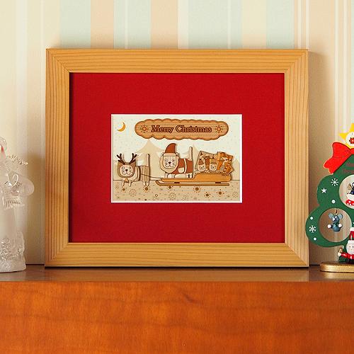 木はり絵「クリスマスキャット」