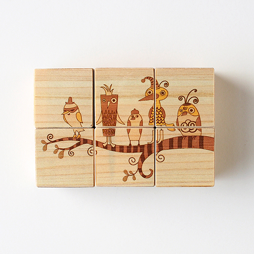 木はり絵六面体パズル(ファイブファニーバード)