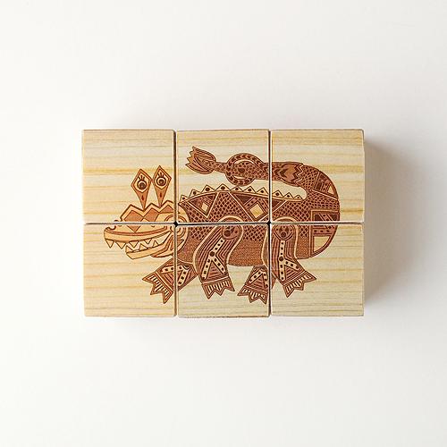 木はり絵六面体パズル(クロコダイル)