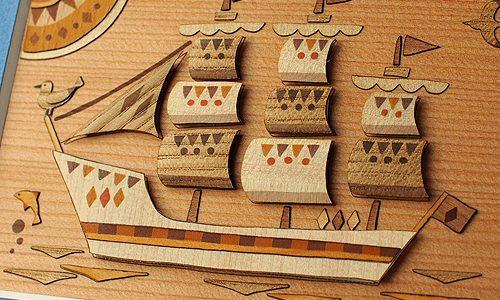 製品紹介 その59 木はり絵手作りキット「帆船」