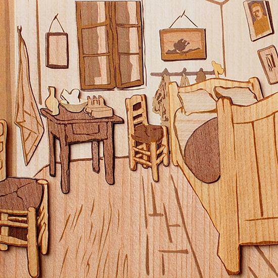 木はり絵「ファン・ゴッホの寝室」