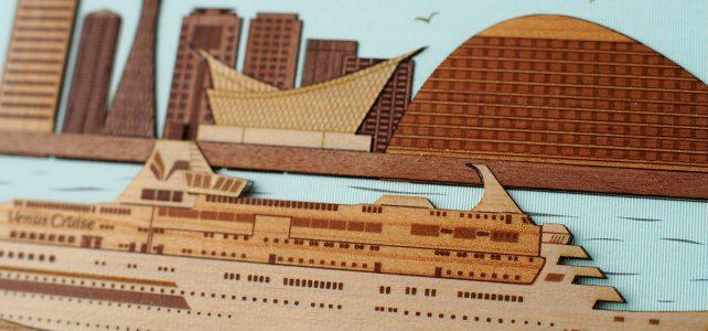 オリジナル木はり絵「神戸港とぱしふぃっくびいなす」