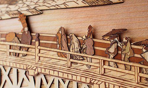 木はり絵「京師 三条大橋」リリースしました!
