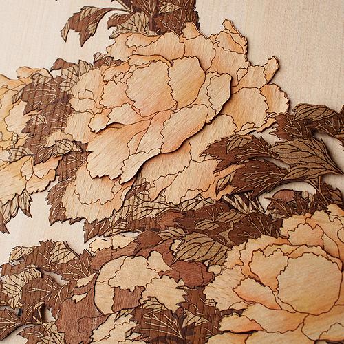 木はり絵「牡丹に蝶」