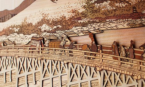 製品紹介 その62 木はり絵「京師 三条大橋」