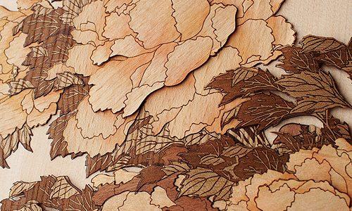 製品紹介 その61 木はり絵「牡丹に蝶」