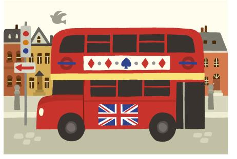 木はり絵_ロンドンバス